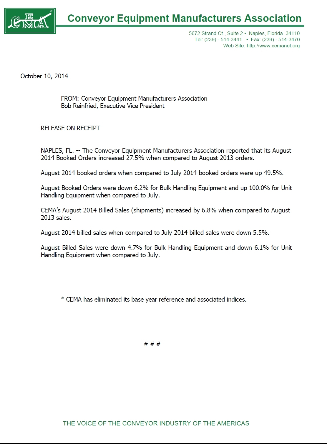CEMA Statistics Aug 2014