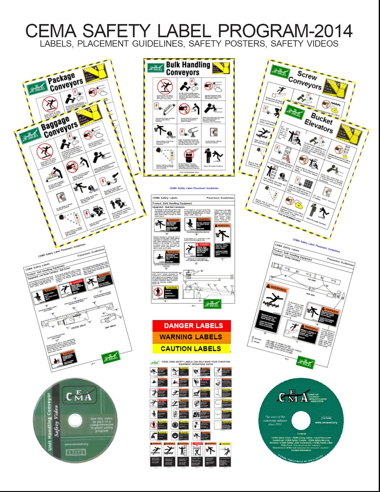 safety, safety labels, publications, safety posters, cema, bulk handling, unit handling