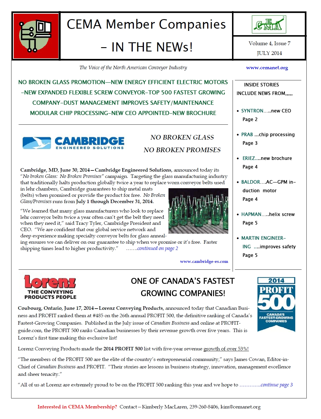 Members, CEMA, newsletters, bulk handling, unit handling, screw conveyors